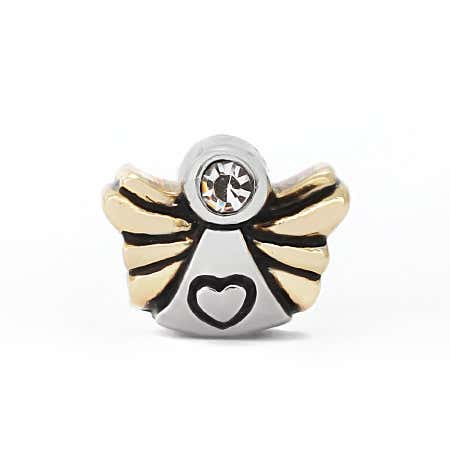 Gold and Silver Tone CZ Angel Bead
