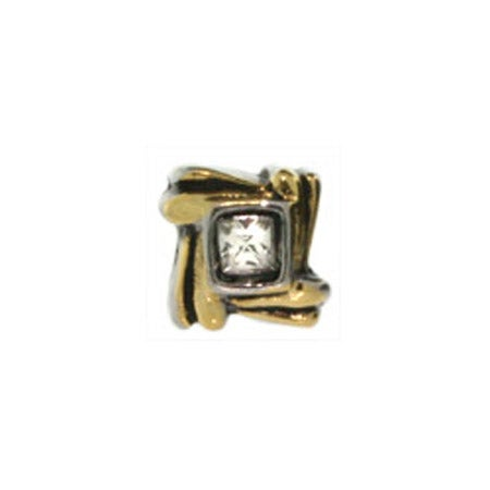 Diamond in Gold Lined Square Bead
