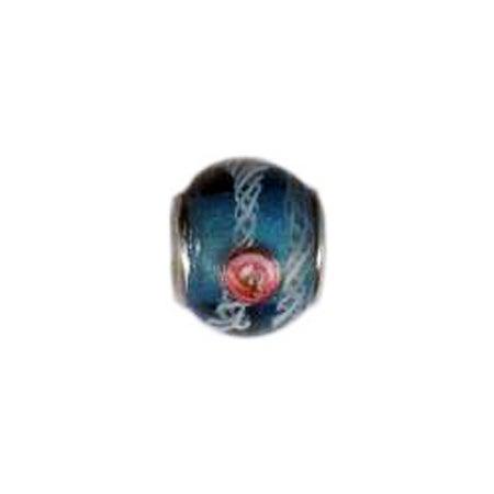 Blue Rosette Glass Bead