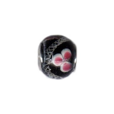 Pink Pansy Glass Bead