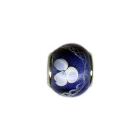 White & Blue Flower Glass Bead