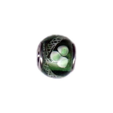 White & Green Flower Glass Bead