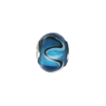 Swirl Blue And Black Glass Bead | Eve's Addiction