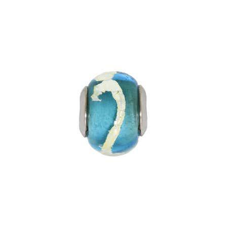 Blue Glass Swirl Bead   Eve's Addiction Beads On Sale
