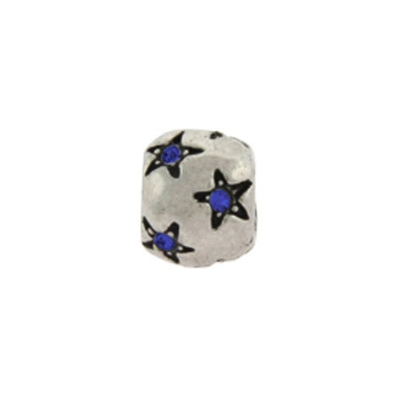 Blue CZ Stars September Birthstone Bead