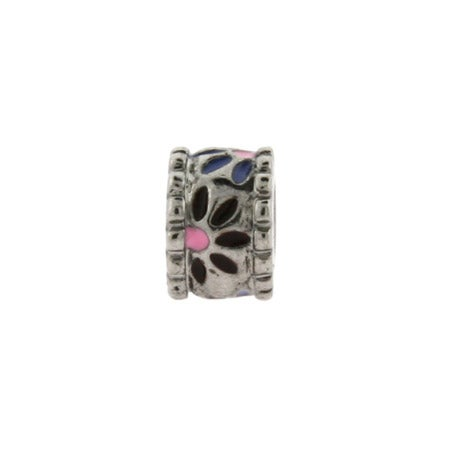 Silver Colored Enamel Flowers Bead | Eve's Addiction