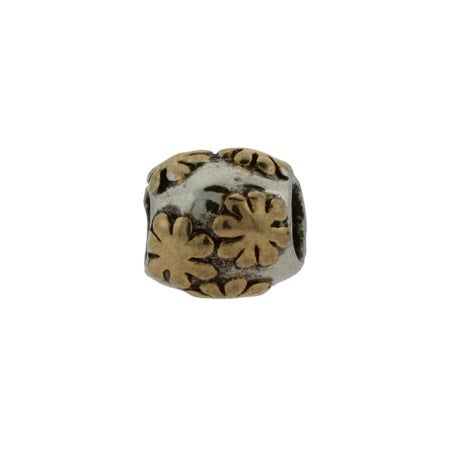Two Tone Flowers Bead | Gold And Silver Flower Bead