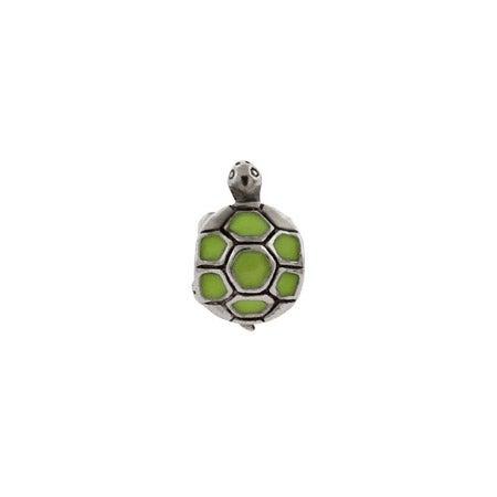 Green Enamel Turtle Bead
