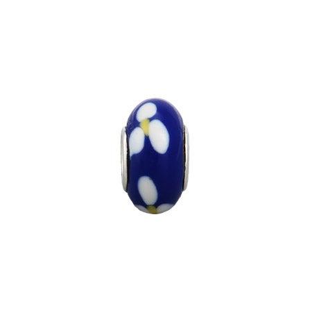 Royal Blue Flower Enamel Bead
