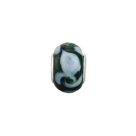 Forest Green Swirled Glass Oriana Bead