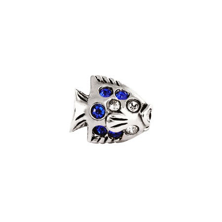 Blue and White CZ Fish Bead
