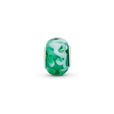 Mint Green and White Swirl Bead
