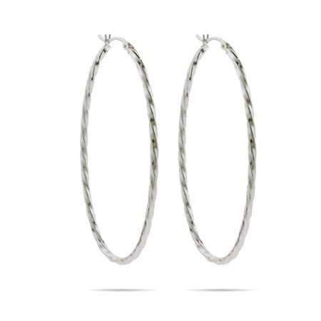 Dramatic Twist 2.5 Inch Oval Hoop Earrings | Eve's Addiction®