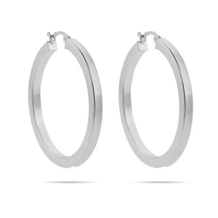 Contemporary 1.5 Inch Flat Bangle Hoop Earrings | Eve's Addiction®