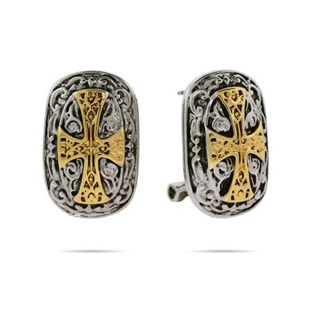 Renaissance Style Gold Cross Earrings