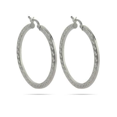 """Greek Design 1.5"""" Hoop Earrings   Eve's Addiction®"""
