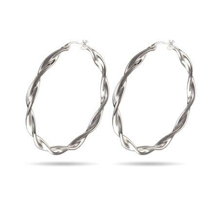 "2 "" Large Twist Style Hoop Earrings | Eve's Addiction®"