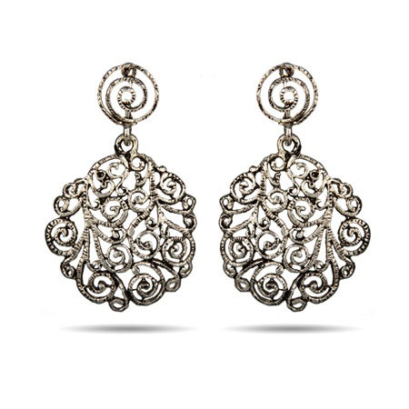 Vintage Scroll Design Drop Earrings | Eve's Addiction®