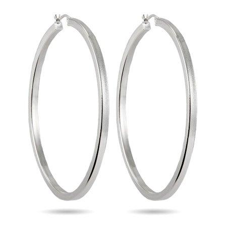 "2.5"" Box Cut Hoop Earrings | Eve's Addiction®"
