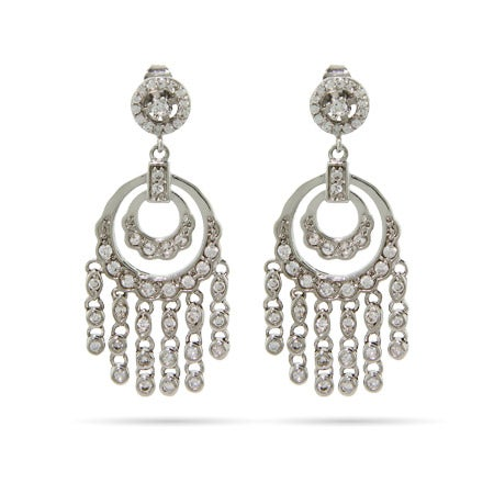 Double Round Sparkling CZ Chandelier Earrings | Eve's Addiction®