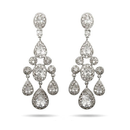 Red Carpet Style Teardrop and Oval CZ Chandelier Earrings | Eve's Addiction®