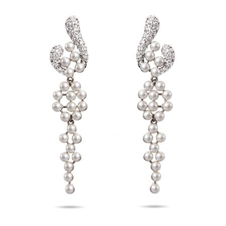Pearls and Pave CZ Chandelier Earrings   Eve's Addiction®