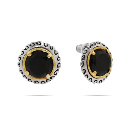 Designer Inspired Round Brilliant Cut Onyx CZ Stud Earrings | Eve's Addiction®