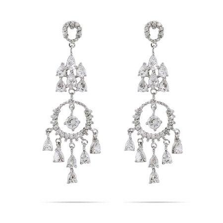 Elegant Circle and Teardrop Chandelier Earrings | Eve's Addiction®