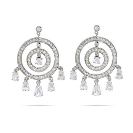 Circles with Dangling Teardrop CZ Chandelier Earrings | Eve's Addiction