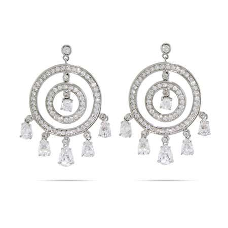 Circles with Dangling Teardrop CZ Chandelier Earrings
