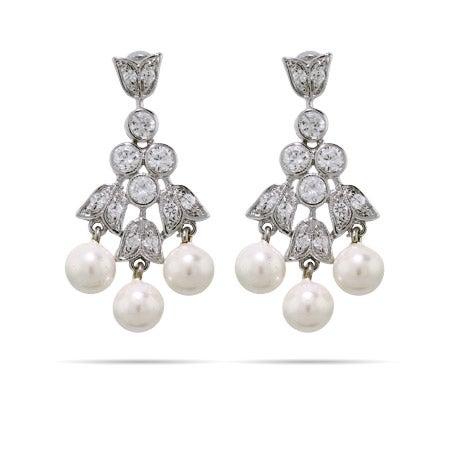 CZ and Pearl Tulip Dangle Earrings | Eve's Addiction®