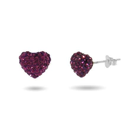 Dazzling Amethyst Swarovski Crystal Purple Heart Earrings   Eve's Addiction®