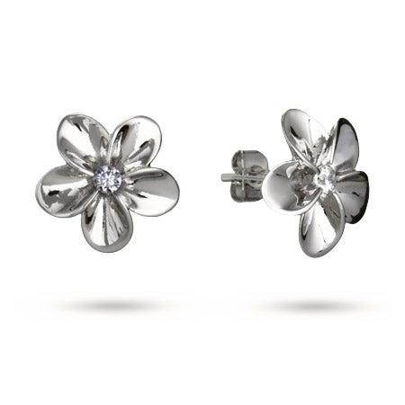 Beautiful Plumeria CZ Stud Earrings | Eve's Addiction®