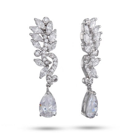 Elegant Marquise Vine CZ Teardrop Earrings | Eve's Addiction®