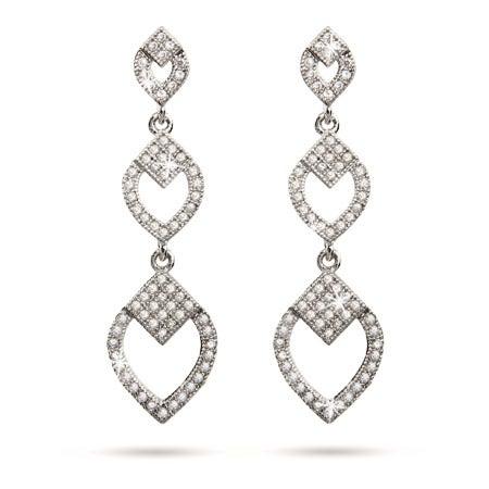 Deco Style Micropave CZ Diamond Dangle Earrings