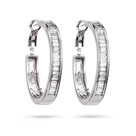 Sparkling Baguette Cut CZ Hoop Earrings | Eve's Addiction®