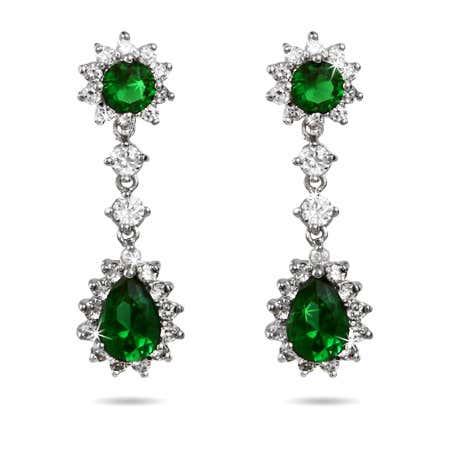 Stunning Emerald CZ Peardrop Earrings | Eve's Addiction®