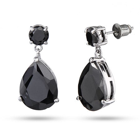 Black CZ Faceted Peardrop Earrings | Eve's Addiction®