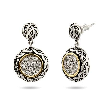 Renaissance Style Round Pave Drop CZ Earrings