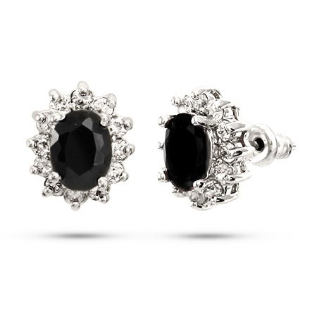 Beautiful Oval Cut Onyx CZ Stud Earrings | Eve's Addiction®
