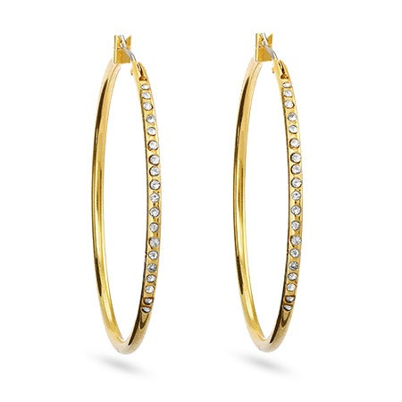 Gold and Clear Cubic Zirconia Hoop Earrings | Eve's Addiction®