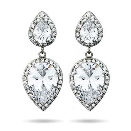 Double Peardrop CZ Dangle Earrings | Eve's Addiction®