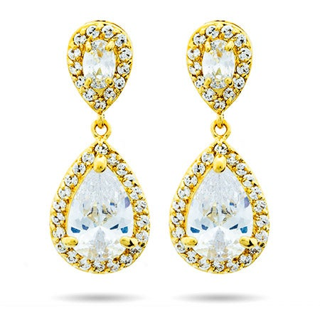 Gold Pearcut CZ Drop Earrings | Eve's Addiction®