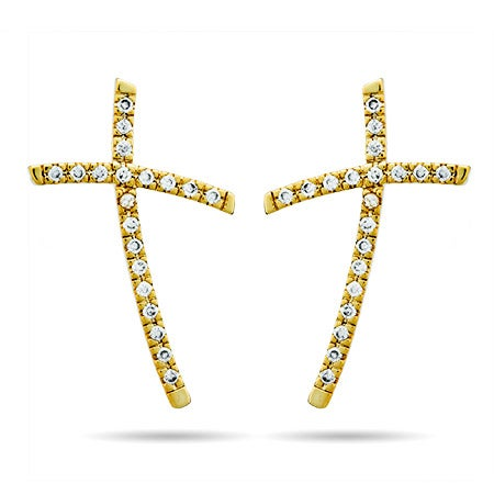 Gold Large Curved Cross CZ Stud Earrings