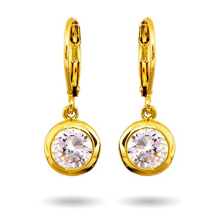 Gold Dangling Bezel Set CZ Earrings | Eve's Addiction®