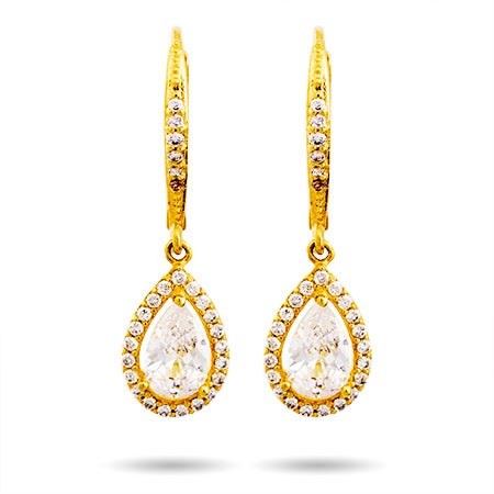 Gold Pearcut Halo CZ Dangling Earrings | Eve's Addiction®