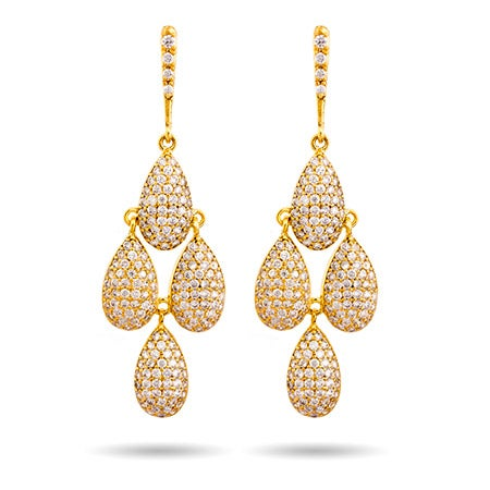 Gold Pave Peardrop Dangling Chandelier Earrings | Eve's Addiction®