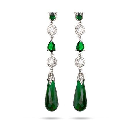 Long Emerald CZ Peardrop Earrings   Eve's Addiction®