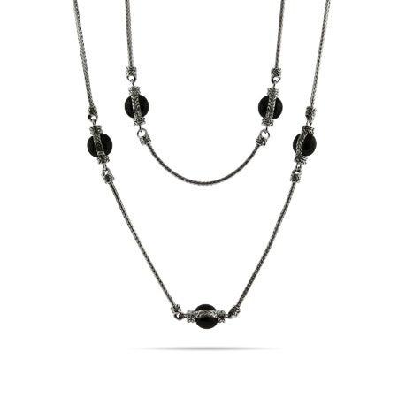 Designer Inspired 36 Inch Onyx Bead Bali Chain