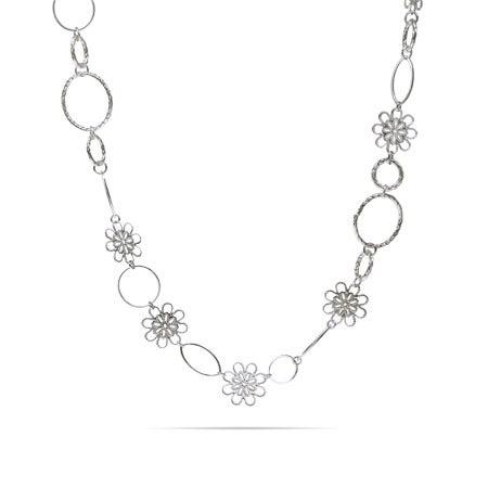 Long Filigree Design Flowers & Oval Links Necklace